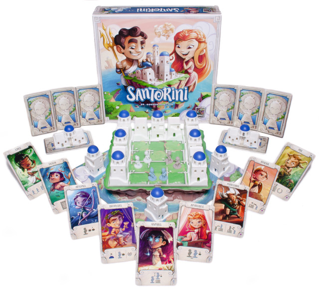 Picture of Santorini, beautiful white buildings, blue domes, and radiant god cards
