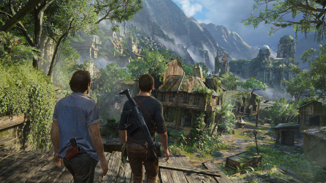 Nate and his brother look out over some ruins in Uncharted 4